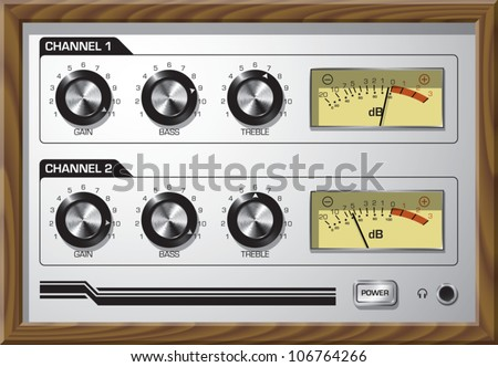 Realistic cartoon illustration of the faceplate of a retro style preamp, with dials that go to 11.