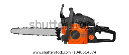 Realistic chainsaw vector illustration