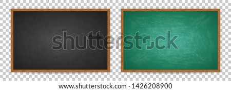 Realistic chalkboard with wooden frame isolated on transparent background. Chalkboard set for design. Rubbed out dirty chalkboard. Empty green and black blackboard for classroom or restaurant menu