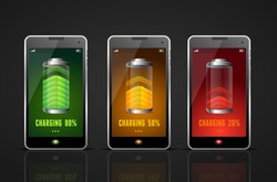 Realistic Charging Batteries Phone Set Level Energy Accumulator Gadget. Vector illustration