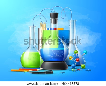 Realistic chemistry laboratory tubes set on  blue. Chemical experiment glassware for education design. Vector pharmaceutical flasks, beaker and test-tubes. Symbol of discovery and chemistry.
