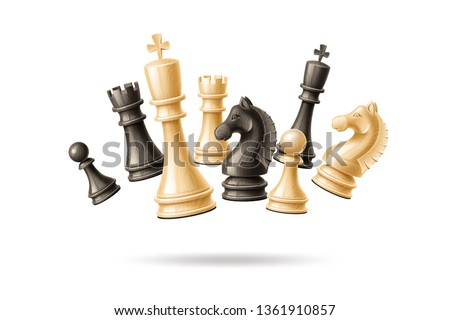 Realistic chess pieces jumping in group set. 3d vector king, queen bishop and pawn horse rook Black and white chess figures for strategic board game. Intellectual leisure activity symbol.