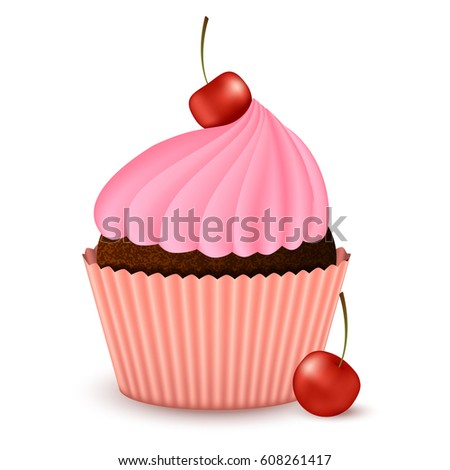 realistic chocolate cupcake