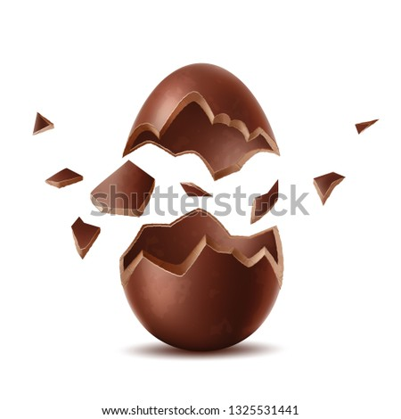 Realistic chocolate egg. Broken, exploded eggshell, two halves chicken egg. Sweet easter holiday symbol. Vector 3d dessert made of dark cocoa. Restaurant, cafe menu, celebration design.