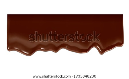 Realistic chocolate falling drops. Vector illustration isolated on white background. Сan easily be used for different backgrounds. EPS10.