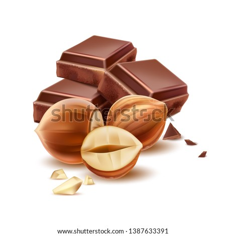 Realistic chocolate pieces with hazelnut. Premium cocoa chocolate with nuts package design. Vector cacao sweet dessert. Delicious natural product ad design.