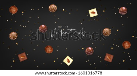 Realistic chocolate set, delicious dessert pattern, valentine's day, love banner, top view chocolate pralines collection, black and white chocolate vector illustration