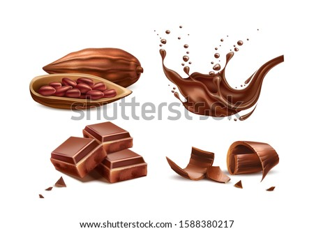Realistic chocolate splash, milk chocolate shavings, bar pieces, cocoa beans. Vector chocolate objects set. Sweet dessert food package design. Delicious chocolate for natural food products design