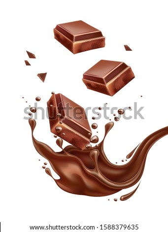 Realistic chocolate splash with milk chocolate bar pieces. Vector sweet liquid pouring with cocoa choco. Sweet dessert food package design. Delicious fluid motion.