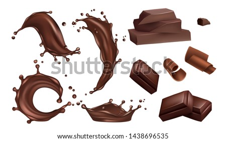 Realistic chocolate splashes, flows and bars vector isolated on white background. Chocolate bar realistic, drop tasty fluid, dessert splash illustration