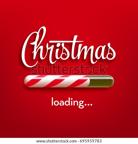 Realistic christmas candy cane progress bar with inscription. Vector illustration icon.