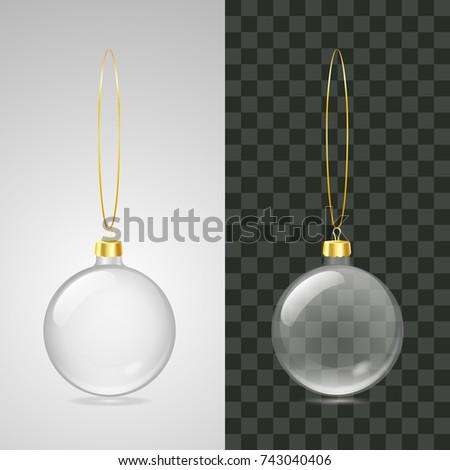 Realistic Christmas glass balls hanging over transparent background. Vector illustration. Mockup