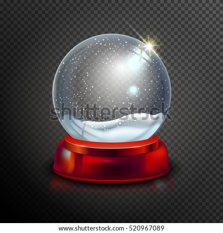 Realistic Christmas glass snow globe isolated on transparent background. vector illustration. Winter in glass ball. Magic Christmas crystal ball of glass, snow and red stand. Vector illustration