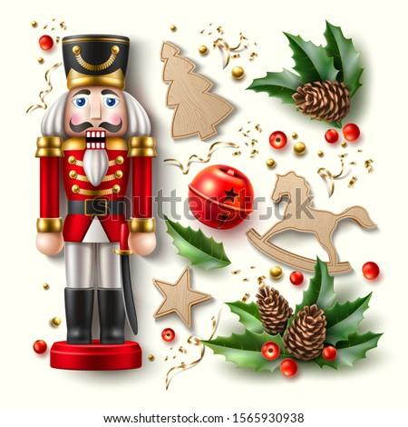 realistic christmas symbols set