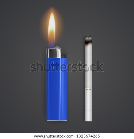 Realistic cigarette and lighter on white background, Tobacco. Narcotic problem concept, Vector Eps 10 illustration