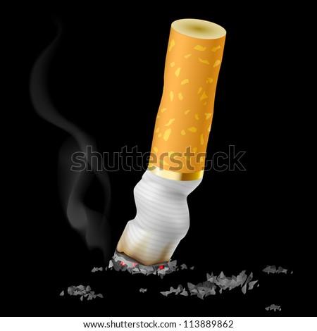 Realistic cigarette butt on black background - stock vector