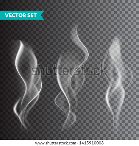 Realistic cigarette smoke set isolated on transparent background. Vector vapor in air, steam flow. Fog, mist effect.