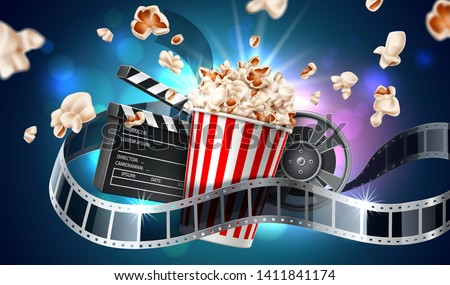 Realistic cinema advertising poster. Popcorn bucket, clapperboard, movie tape and reel, flying popcorn in motion. Film production banner. Movie premiere show announcement design.