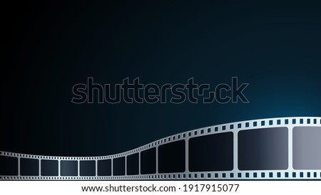 Realistic Cinema Background. Film strip in perspective. 3D isometric film strip. Vector template cinema festival or presentation with place for text. Design cinema movie festival poster, banner, flyer