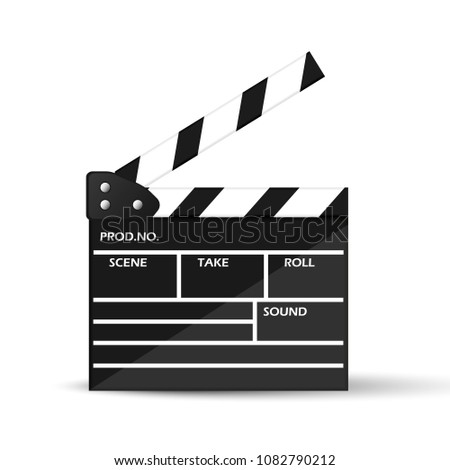 Realistic cinema clapperboard, vector illustration