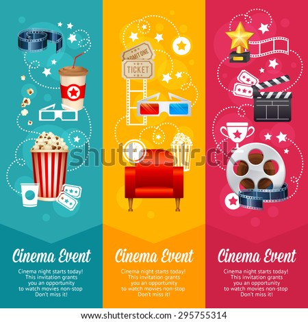 Realistic cinema movie poster template with film reel, clapper, popcorn, 3D glasses, concept banners