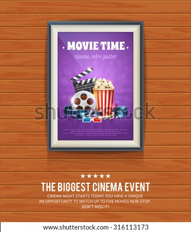 realistic cinema poster in a