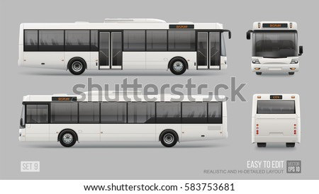 Realistic City Bus template isolated on grey background. Passenger Transport for brand identity and advertising design. Blank surface Low Floor City Bus. Hi-detailed Easy to edit vector layout