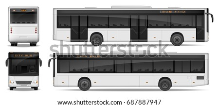 Realistic City Bus template isolated on white background. Passenger City Bus mockup side, front and rear view. Transport advertising design. Vector illustration.