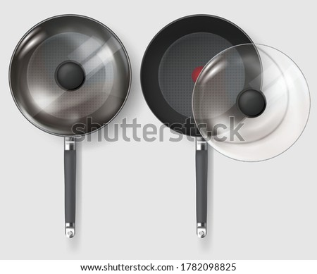 Realistic Classic fry pan with glass lid and handle. Vector Photo stock ©