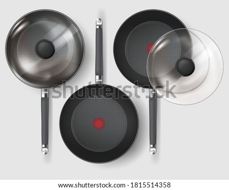 Realistic Classic fry pan with glass lid and handle. Vector Stockfoto ©