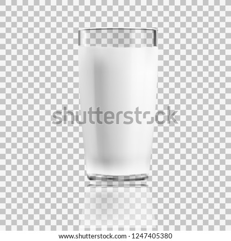 realistic clear glass of milk