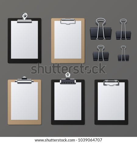 Realistic clipboards with blank white paper sheet. Notepad information board vector illustration. Clipboard and paper sheet page