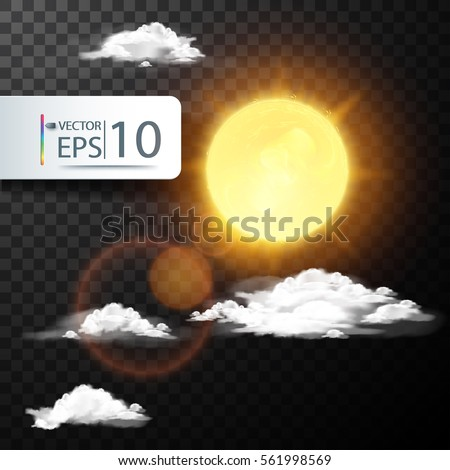 Realistic cloud with the sun in the summer on transparent background isolated vector illustration.