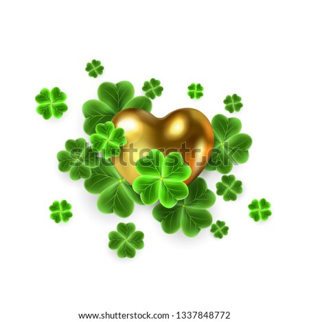realistic clover leaf and gold