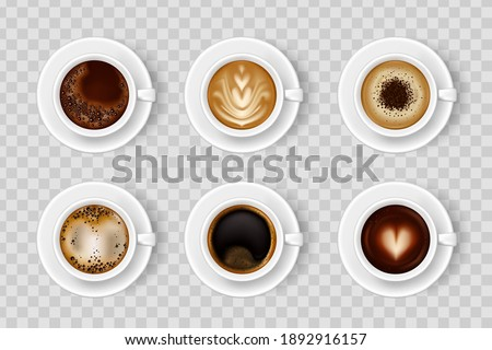 Realistic coffee cup set with different color hot drink. Coffee cup top. Hot milk espresso latte breakfast tea time