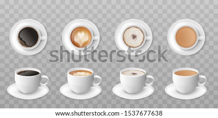 Realistic coffee cup set with different color hot drink - isolated black espresso, cappuccino with foam art, mocha with chocolate sprinkle, and milk tea. Vector illustration.