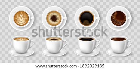 Realistic coffee cups. Black coffee, cappuccino, latte, espresso, macchiatto, mocha top and side view. Easy to edit realistic vector collection.
