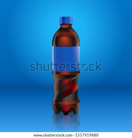 Realistic cola bottle with blue label mock up isolated on blue background reflected off the floor, vector illustration. Suitable for your large format ads, billboards and posters