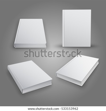Realistic collection of 3d books with white cover. Mock Up of books. Vector illustration