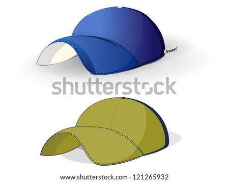realistic color baseball caps on a white background