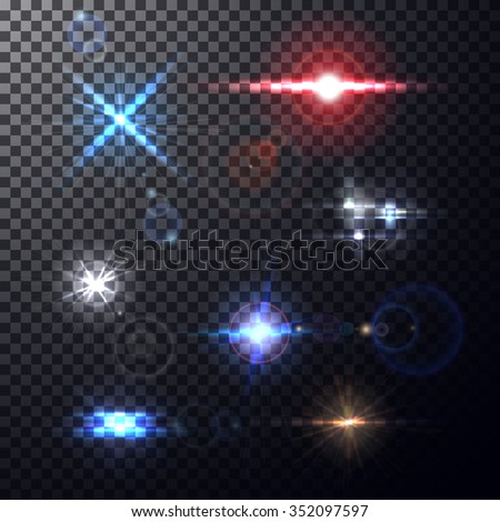 Realistic colorful bright lens flares beams and flashes on transparent backdrop. Design elements, decorative effects for your projects on isolated background. Vector illustration