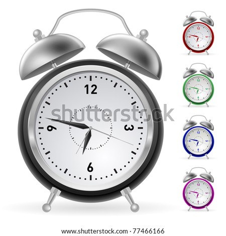 Realistic colorful clock. Illustration for design on white background