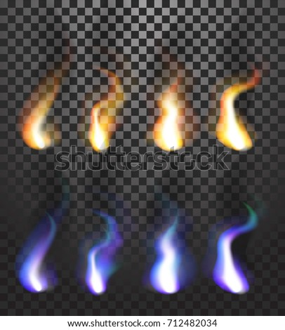 Realistic colorful flames with tongues of flame, ashes and soot isolated on transparent background. Can be used in flyers banners or web. Vector illustration. EPS 10. stock photo