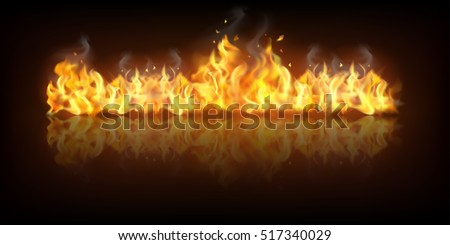 Realistic colorful image line bon fire flame with horizontal reflection smoke and sparks on black background vector illustration