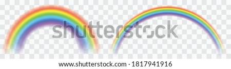 Realistic colorful rainbow. Transparent rainbows set. Vivid rainbow with transparent effect - stock vector.