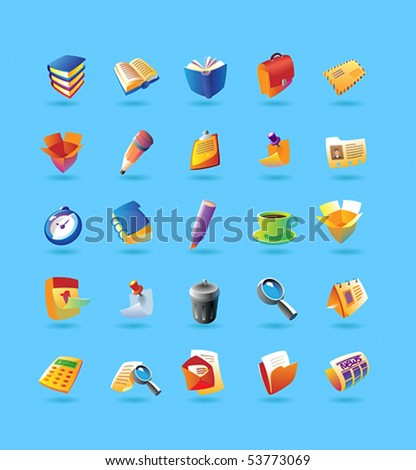 Realistic colorful vector icons set for office and stationery on light blue background