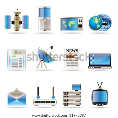 Realistic Communication and Business Icons - Vector Icon Set