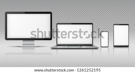 Realistic computer laptop smartphone. Tablet gadget mockup, pc laptop mobile devices. Monitor screen display vector template