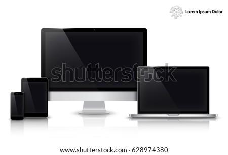realistic computer  laptop