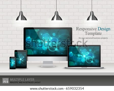 Realistic Computer, Laptop, Tablet and Mobile Phone with Bokeh Wallpaper Screen Isolated on Vintage Brick Wall. Set of Device Mockup Separate Groups and Layers. Easily Editable Vector.